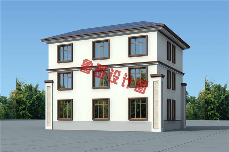 新中式三层小别墅背面图