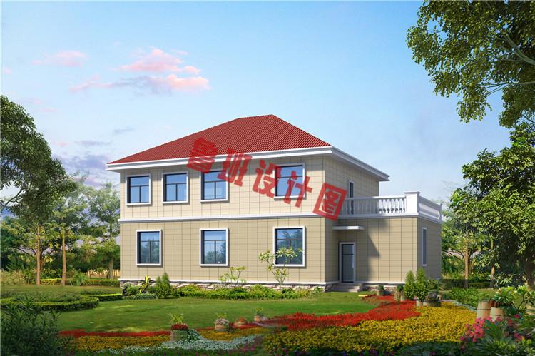 农村二层欧式别墅背面图