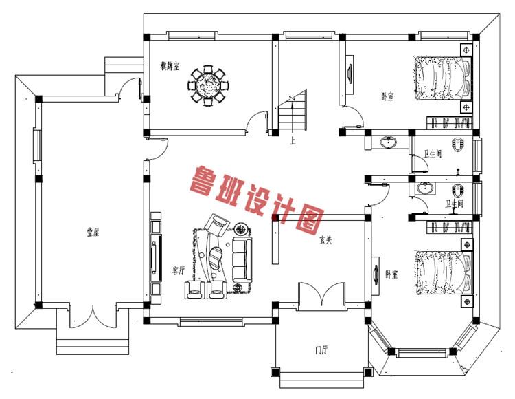 农村二层欧式别墅一层户型图