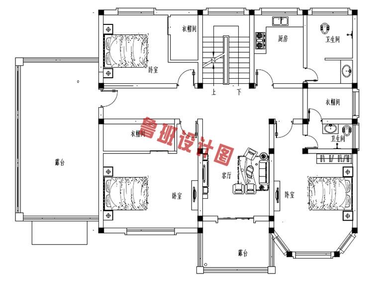 农村二层欧式别墅二层户型图