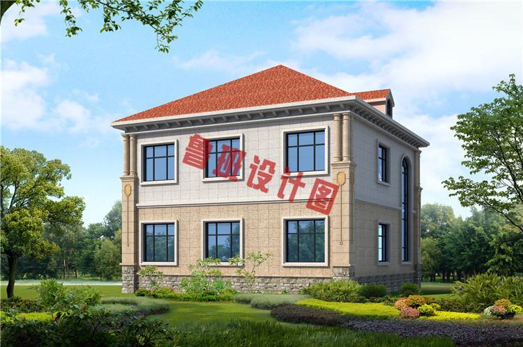 经典二层欧式别墅背面图