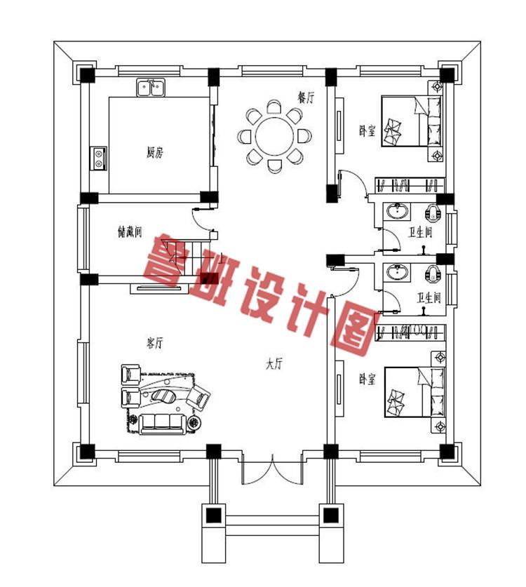 经典二层欧式别墅一层户型图