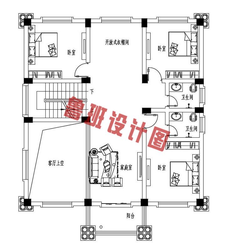 经典二层欧式别墅二层户型图