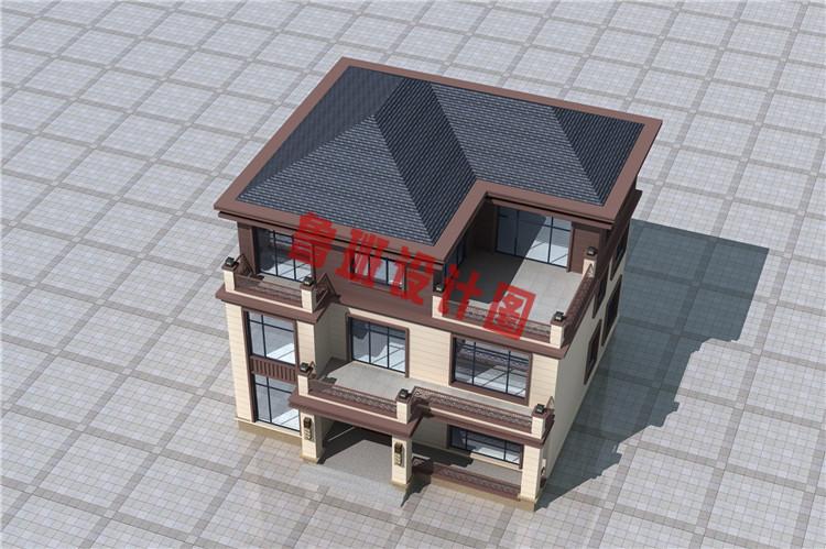 三层新中式别墅鸟瞰图