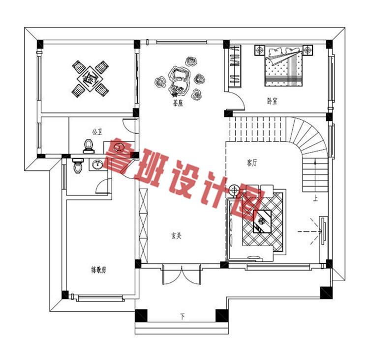 三层新中式别墅一层户型图