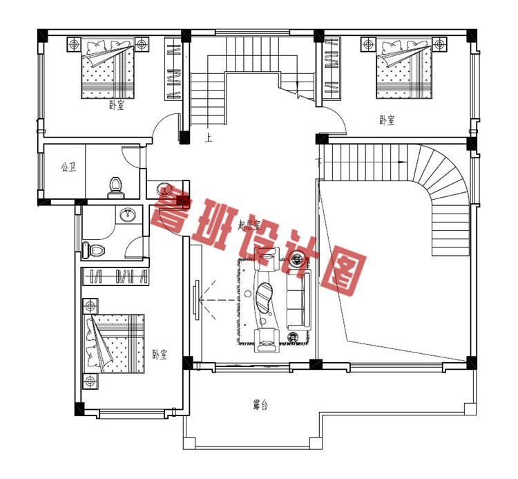 三层新中式别墅二层户型图