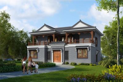 15X10米小型二层四合院别墅设计图,整体外型大方得体