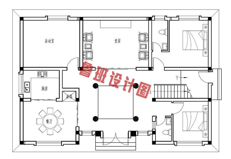 二层四合院别墅设计一层户型图
