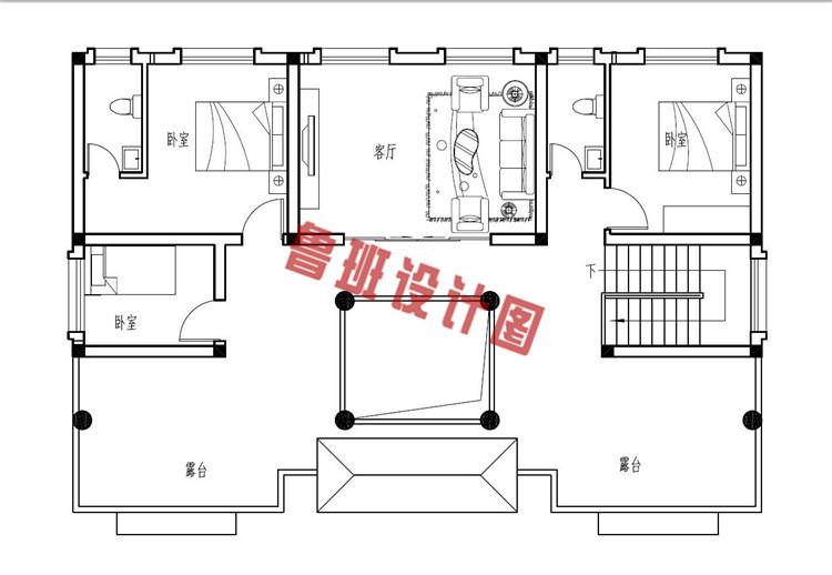 二层四合院别墅设计二层户型图