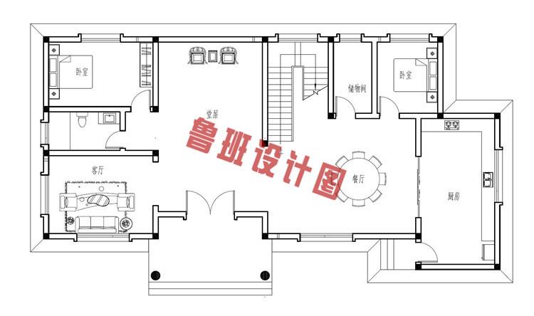 190平大户型欧式别墅设计一层户型图