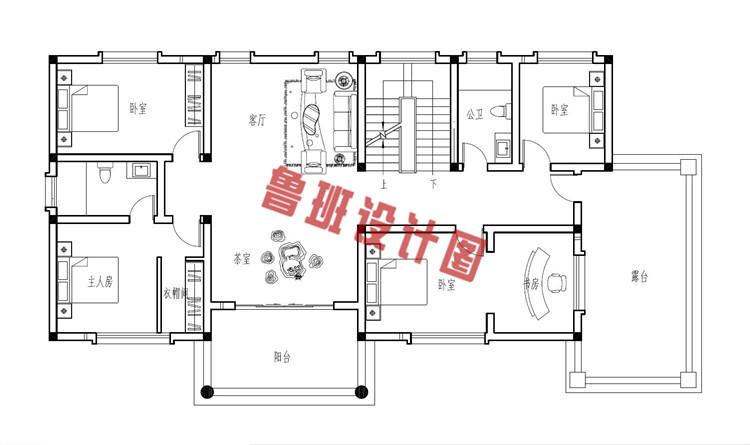 190平大户型欧式别墅设计二层户型图