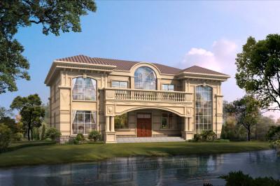 乡村四间二层大户型豪华别墅设计图,带挑高客厅,大气又舒适。