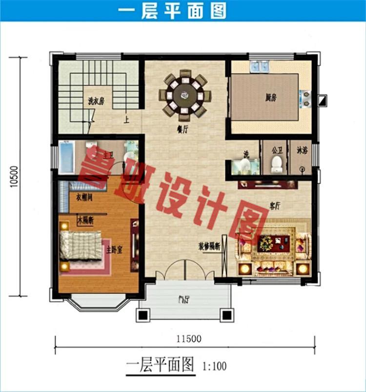 简欧风格三层别墅设计一层户型图