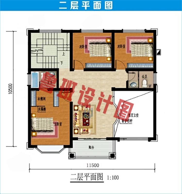 简欧风格三层别墅设计二层户型图