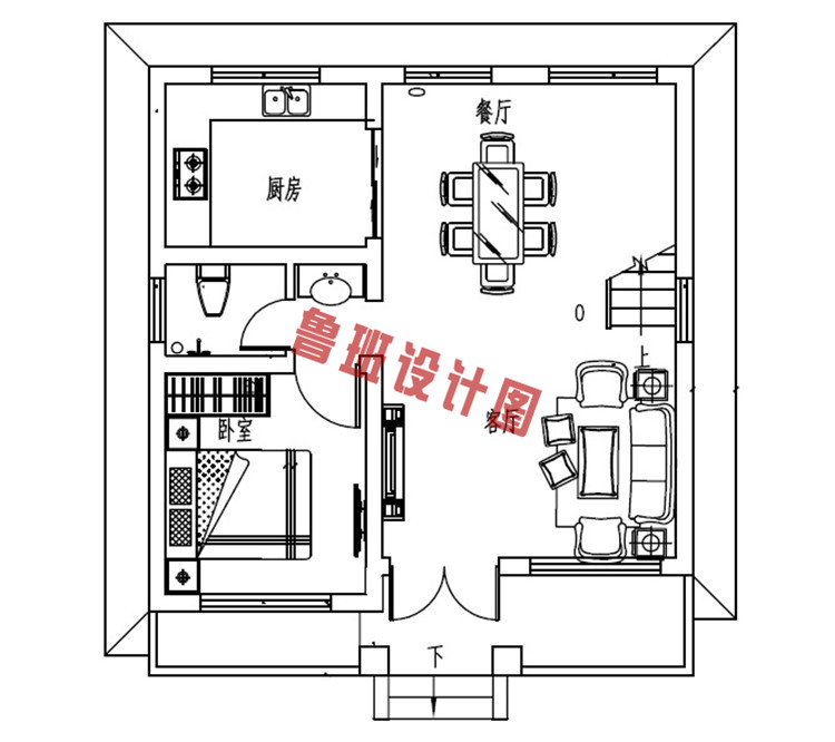 小户型二层别墅一层户型图