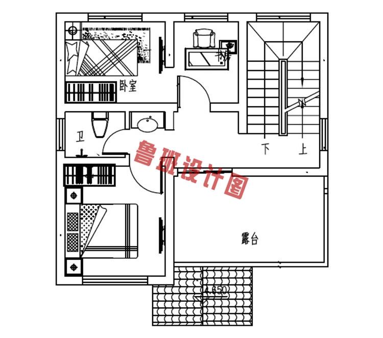 小户型二层别墅二层户型图