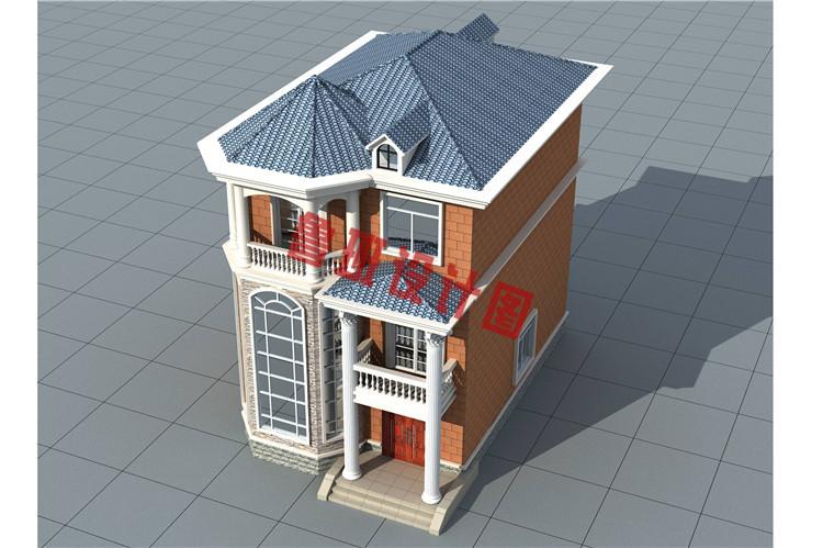 三层农村楼房设计鸟瞰图
