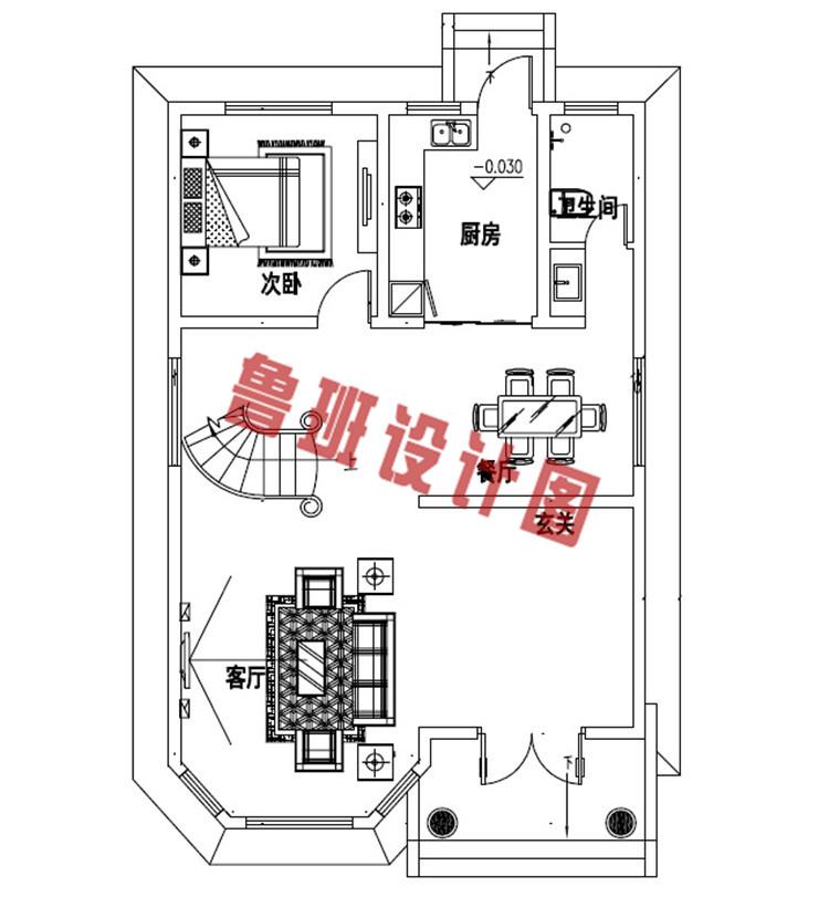 三层农村楼房设计一层户型图