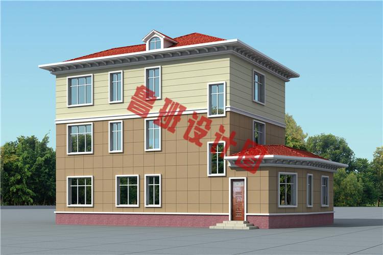新款170平砖混结构三层别墅设计背面图