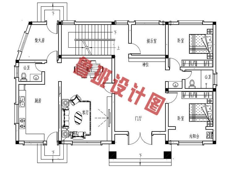 新款170平砖混结构三层别墅设计一层户型图