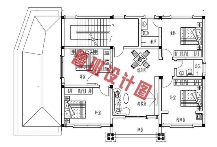 新款170平砖混结构三层别墅设计二层户型图