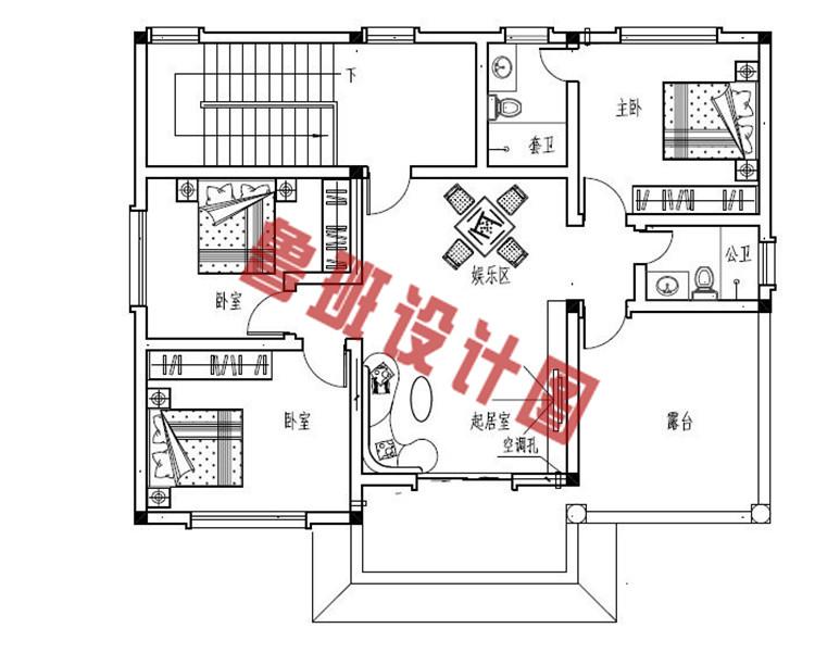 新款170平砖混结构三层别墅设计三层户型图