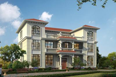 一层共用的三层双拼自建房别墅设计图,外观好看,户型实用