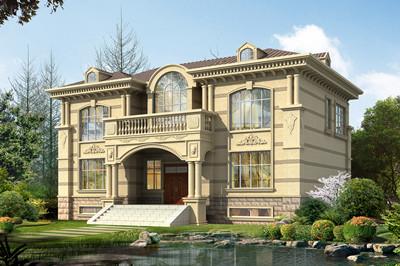 带地下室欧式二层别墅设计图,占地160平方米,浅色淡雅的外墙装