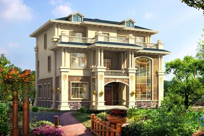 带挑空客厅三层豪宅自建房设计图,外观大气、高端