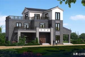 新中式农村三层别墅设计方案,好似画中画。