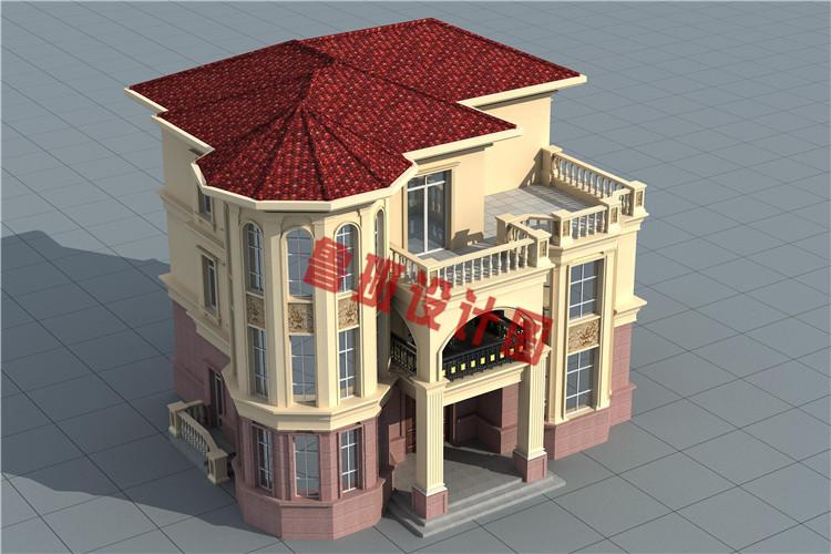 新款三层复式别墅自建房设计鸟瞰图