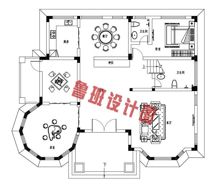 新款三层复式别墅自建房设计一层户型图