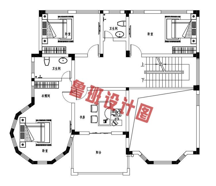 新款三层复式别墅自建房设计二层户型图