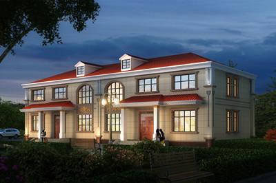 简单实用新式农村二层兄弟双拼别墅房屋户型图,清新亮丽