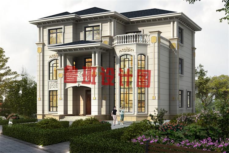最新带有神位的三层农村别墅设计效果图