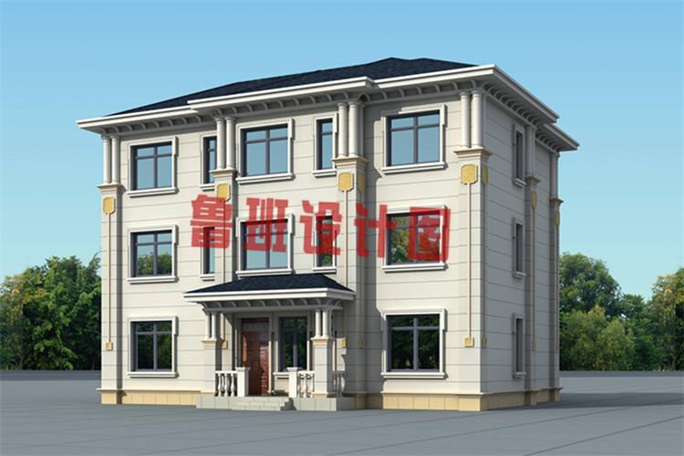 最新带有神位的三层农村别墅设计侧面图