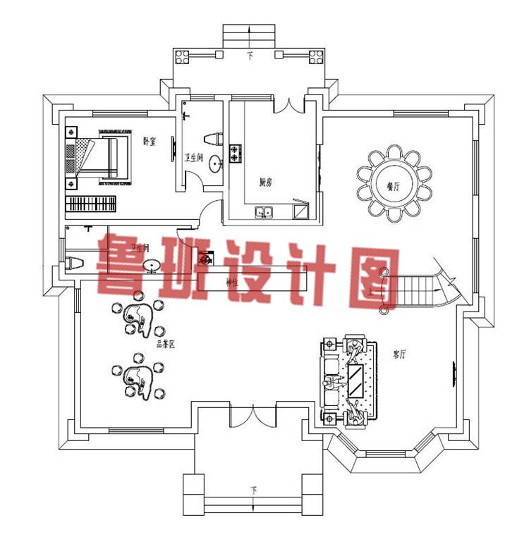 最新带有神位的三层农村别墅设计一层户型图