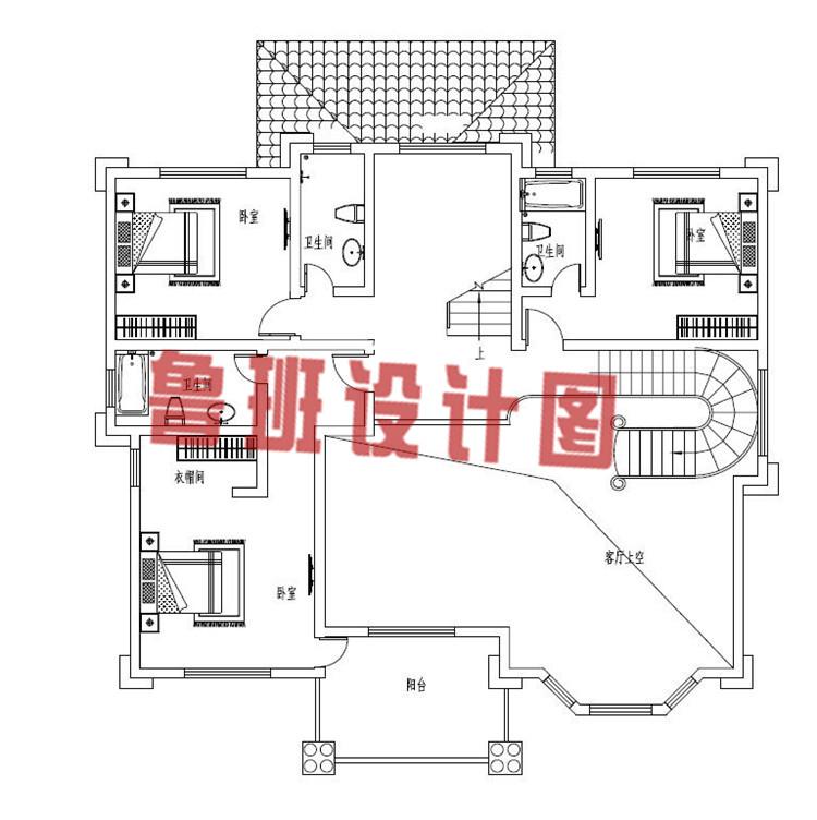 最新带有神位的三层农村别墅设计二层户型图