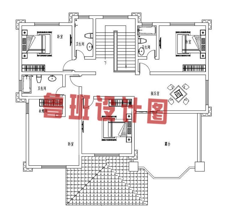 最新带有神位的三层农村别墅设计三层户型图