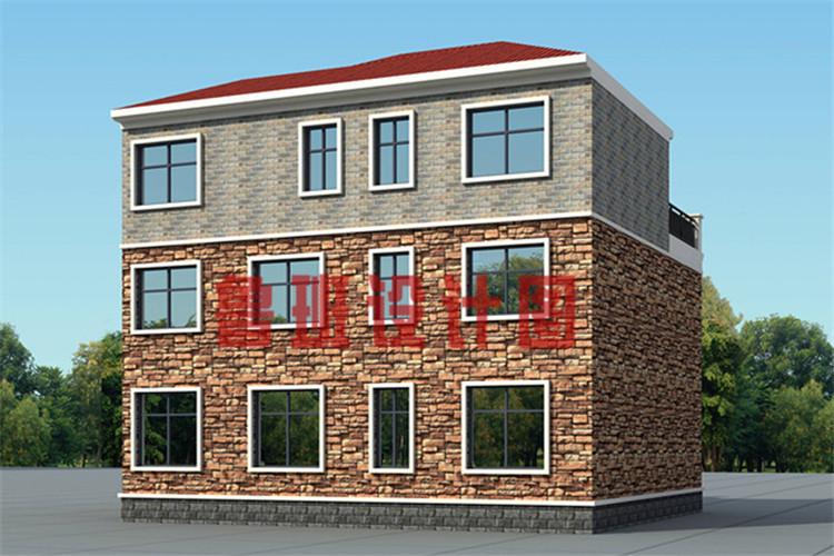 12x11米带茶室和书房三层乡村别墅设计侧面图