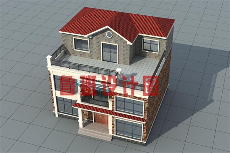 12x11米带茶室和书房三层乡村别墅设计鸟瞰图