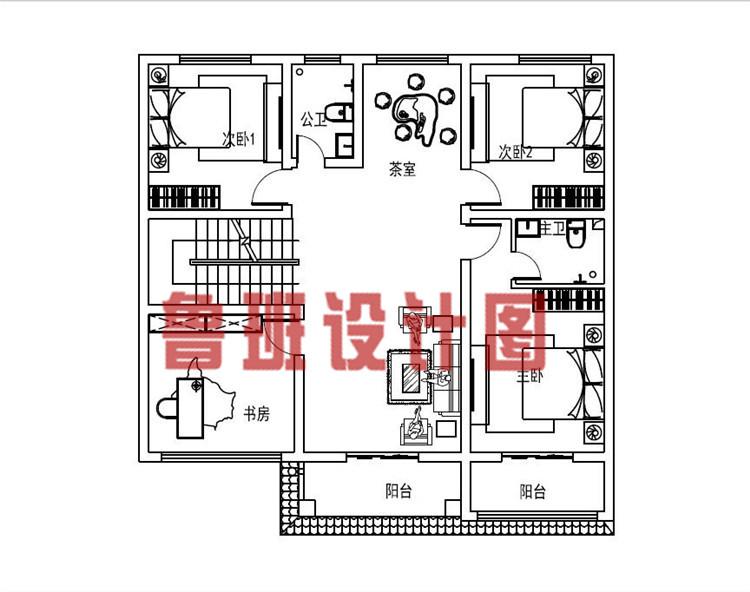 12x11米带茶室和书房三层乡村别墅设计二层户型图