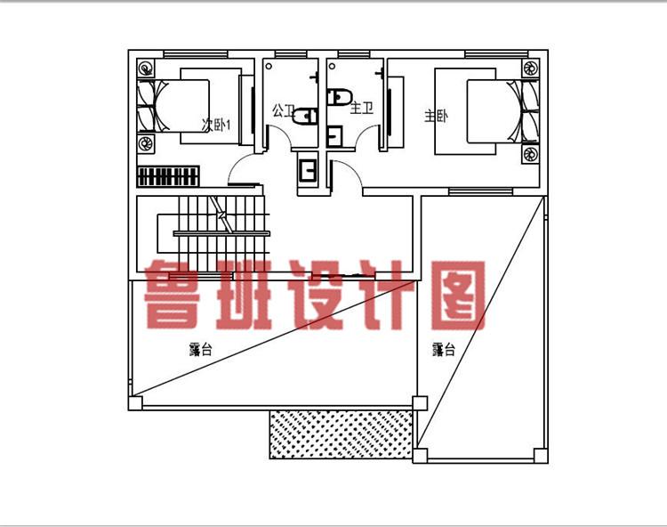 12x11米带茶室和书房三层乡村别墅设计三层户型图