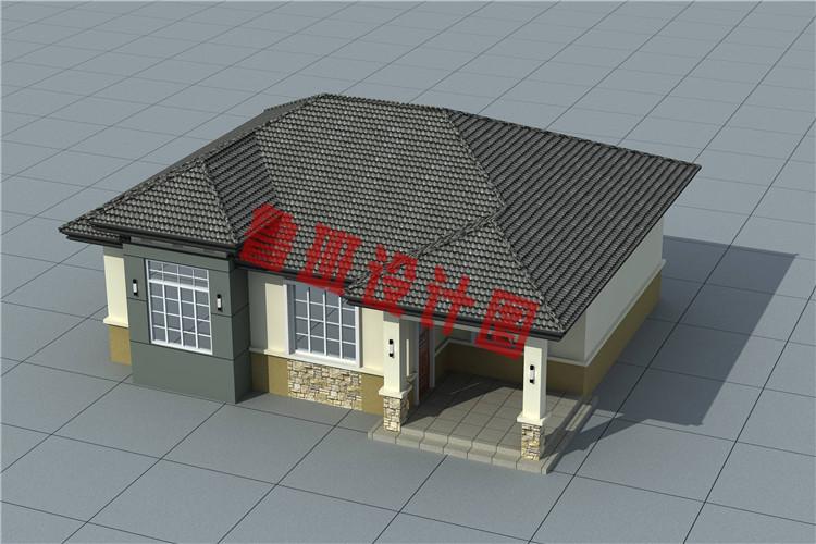 200平米新农村一层简单小房屋全套别墅设计鸟瞰图