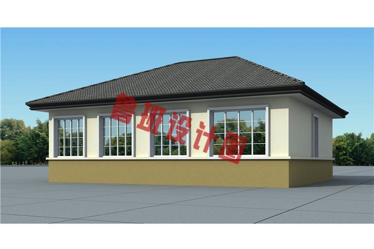 200平米新农村一层简单小房屋全套别墅设计背面图