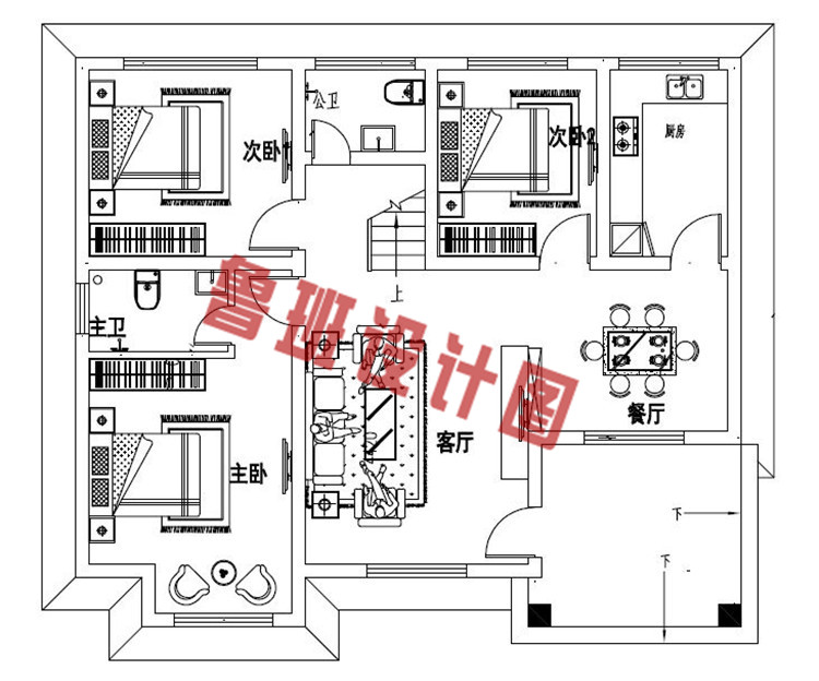 200平米新农村一层简单小房屋全套别墅设计一层户型图