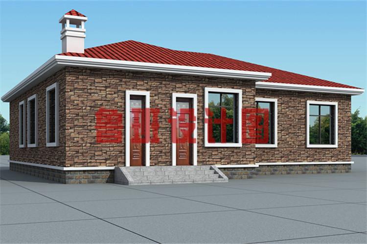 4室1厅带观景走廊一层农村自建别墅设计侧面图