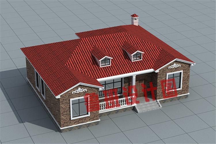 4室1厅带观景走廊一层农村自建别墅设计鸟瞰图