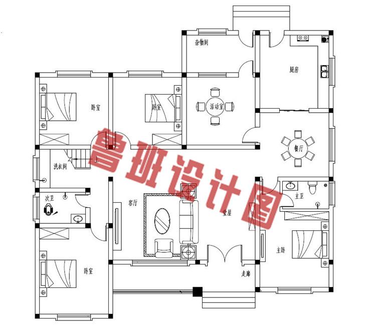 4室1厅带观景走廊一层农村自建别墅设计一层户型图