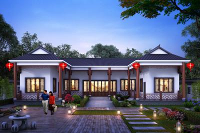 现代新中式三合院一层房屋设计图,比别墅还好看